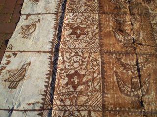 Large Vintage Hand Made Tongan Ngatu Tapa Bark Cloth Tribal Art photo