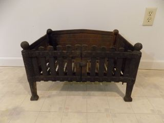 Antique Vintage Cast Iron Gothic Victorian Fireplace Log Grate Insert photo