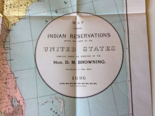 1896 Map Indian Reservations Within The U.  S.  - Supplies & Transportation Of Same photo