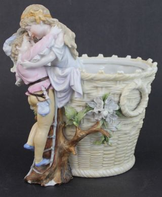 Antique Kpm Hard Paste Porcelain Romantic Scene Figural Children Basket Vase photo