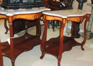 Pair Pier/console Tables Mirror - Backed Two - Tone Mahogany Carrara Marble Top photo
