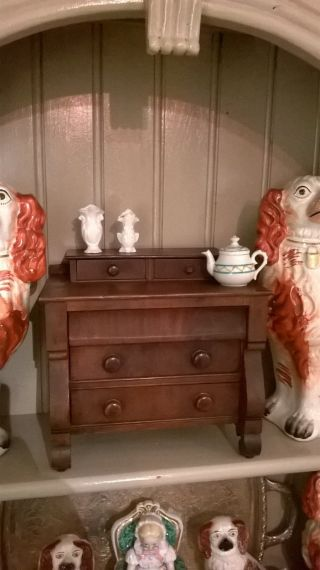 Fine Antique Miniature Childs Salesman Sample Empire Chest Of Drawers 1860 ' S Nr photo