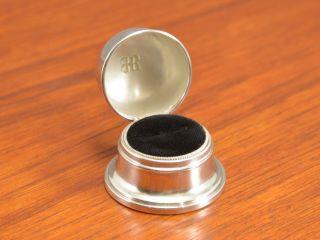 Fine Engagement Birks Art Deco Sterling Silver Ring Box Black Velvet Gilt photo