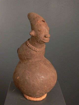 Congo: Large Tribal African Mangbetu Terracotta Jug photo