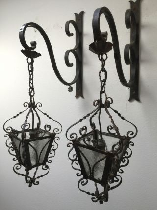Antique Vintage French Wrought Iron Petite Lanterns Gothic Rustic Wall Lights photo