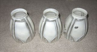 3 Vintage Glass Light Shades Art Deco Globes Lamps photo