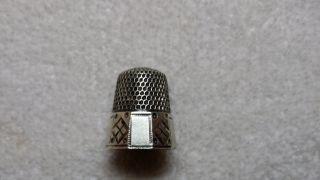 Antique Sterling Silver Thimble Size 10 Plain & Diamond Panels photo