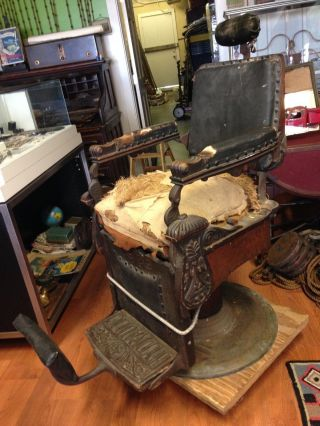 Antique Kochs Barber Chair Carved Quartered Oak Circa 1890`s photo