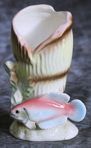 Delightful Vintage Ceramic Vase - Fish Swimming Around A Shell & Seaweed - 14cm Tall photo