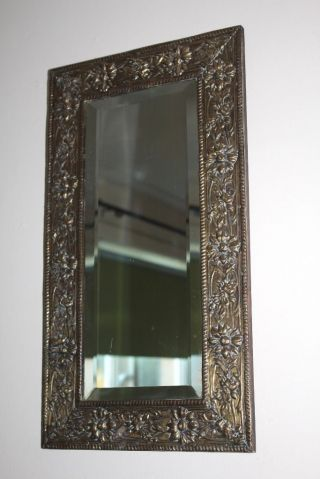 Vintage 1930s Embossed Decorative Floral Brass,  Bevelled Edge Mirror 20