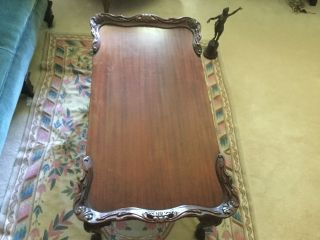 Antique Carved Mahogany Chippendale Coffee Table photo