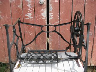 Antique Treadle Sewing Machine Cast Iron Base,  Table Legs,  Industrial Age photo