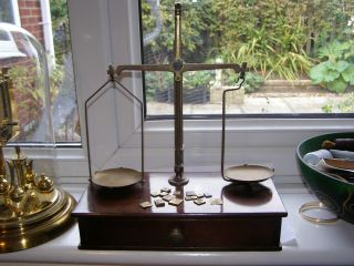 Antique C1900 Mahogany & Brass Apothecary Beam Balance Scales,  Weights photo