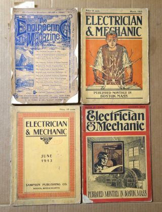 3 Issues Of Electrician & Mechanic 1913,  1 Issue Of The Engineering Mag.  1893 photo