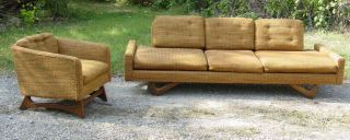 Vintage 1950s Mid Century Sofa & Chair Schweiger Adrian Pearsall photo