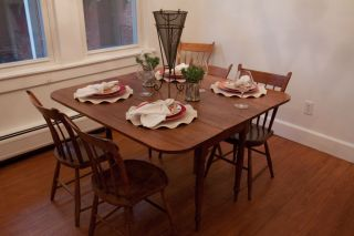 Refinished Drop Leaf Table With 6 Thumb Back Chairs photo