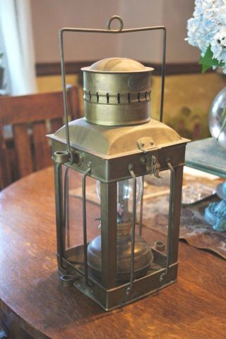 Neptune Brass Copper Ship Lantern Glass Inside Lamp Intact Signed photo