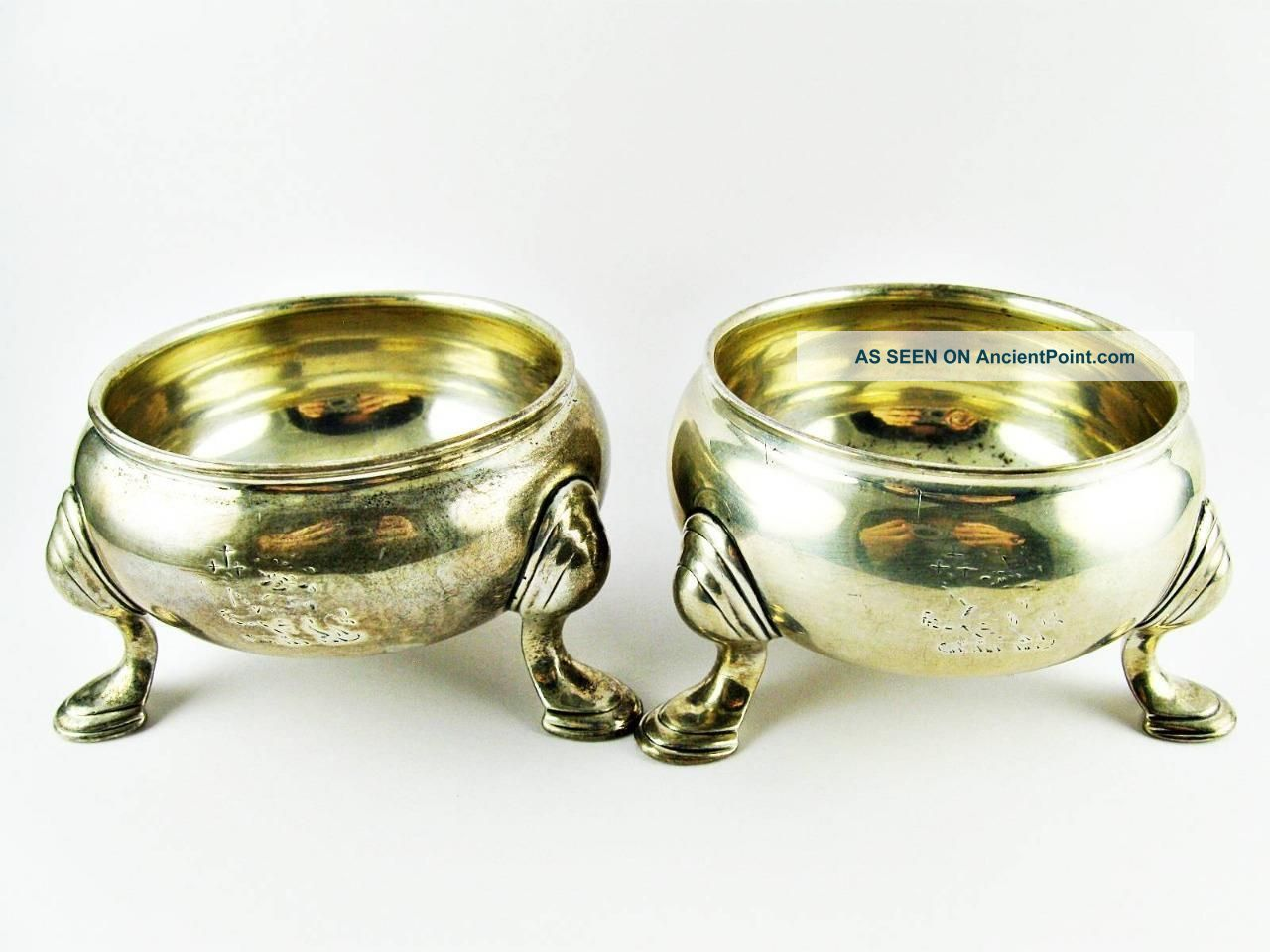Antique Georgian London,  England Sterling Silver Salt Cellars 164gm Salt Cellars photo
