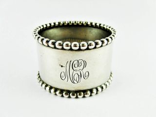 Antique Watson Beaded Pattern Sterling Silver Napkin Ring 26gm photo