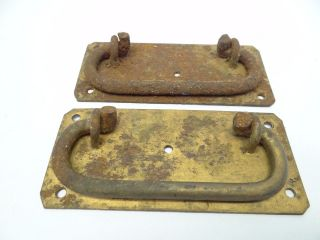 Antique Pair Old Metal Iron Trunk Lockbox Storage Handles Pulls Parts Hardware photo