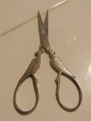 Antique Victorian Small Double Pheasant Bird Sewing Scissors Louise Mfg Germany photo