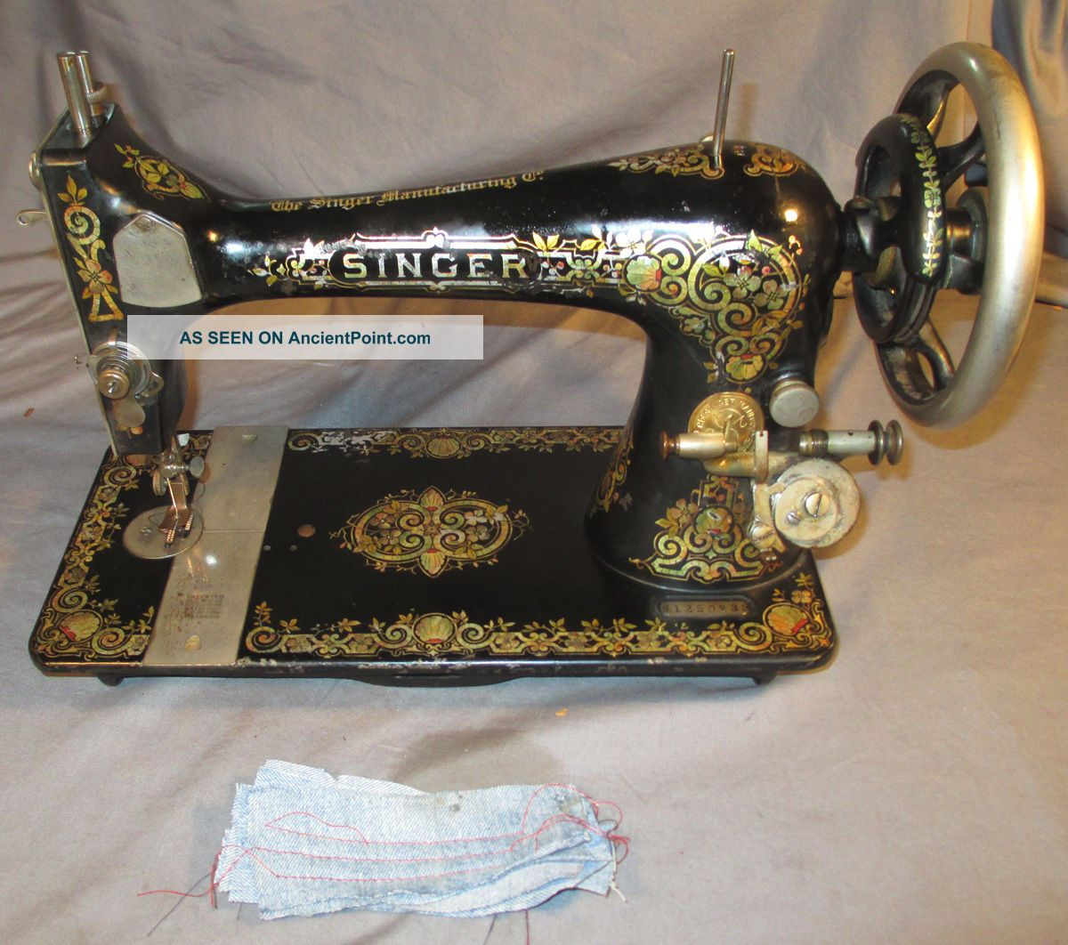 Serviced Antique 1907 Singer 27 Tiffany Treadle Sewing Machine Work 100 C - Video Sewing Machines photo