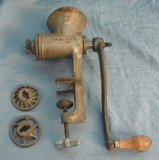 Large Vintage Universal 8 Meat Grinder With Coarse,  Medium & Fine Attachments photo