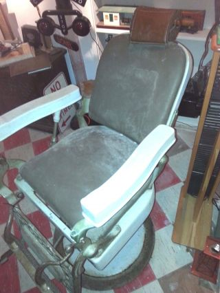 Vintage Reclining Barber Chair Hercules Circa 1900 ' S photo