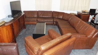 Vintage Large Brown Leather 6 Piece Modular Sofa - 1970s - Retro - Dux Signed photo