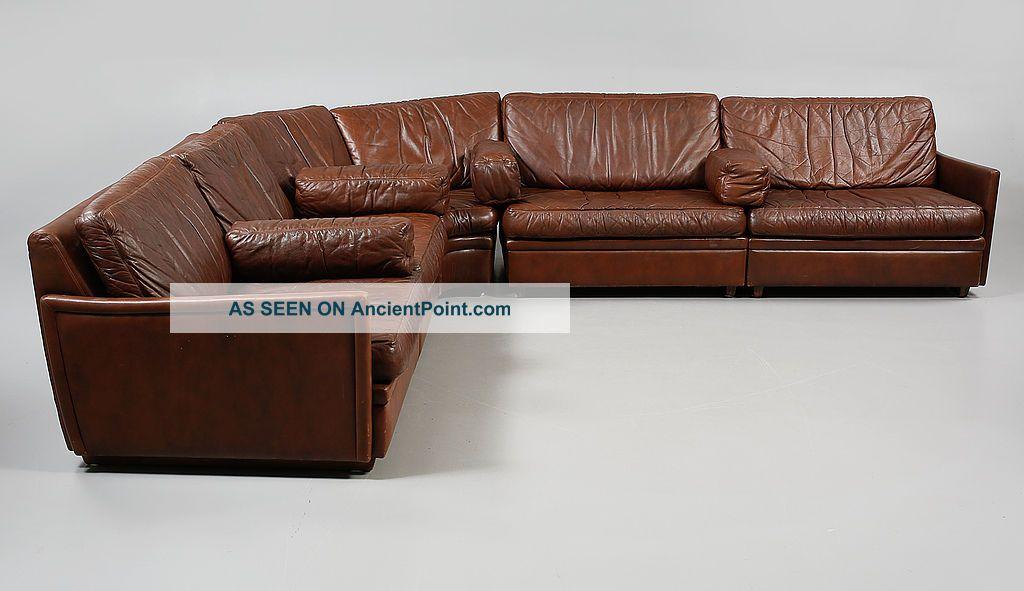 Vintage Large Brown Leather 6 Piece Modular Sofa 1970s