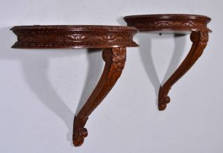 French Antique Wall Mount Nightstands Tables Sconces Carved Oak Wood (k) photo