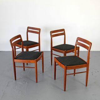 4 Teak Dining Chairs By Bramin W/ Fabric 60s Denmark | Danish Modern Stühle photo