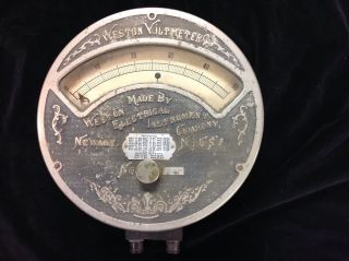 Antique Weston Voltmeter 1901 Electric Meter Tag Vintage Voltmeter photo