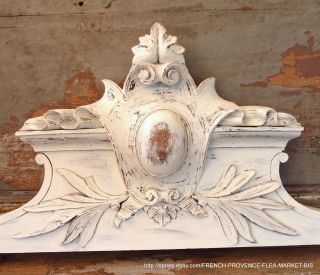 40 In Pediment Antique French White Painted Hand Carved Wood Coat Of Arms Panel photo