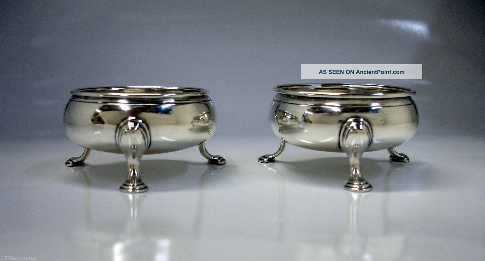 1768 Fine Georgian English Sterling Silver Salt Cellars David & Robert Hennel Nr Salt Cellars photo