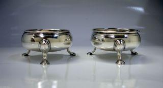 1768 Fine Georgian English Sterling Silver Salt Cellars David & Robert Hennel Nr photo