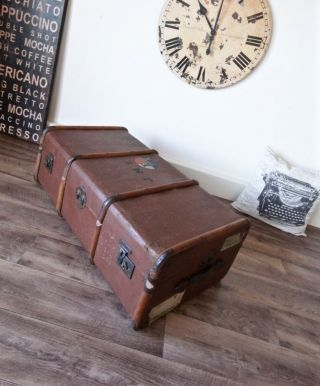 Antique Travel Steamer Trunk Coffee Table Vintage Storage Chest With Tray photo