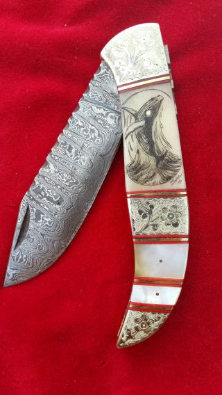 Hand Done,  Damascus Steel,  Scrimshaw Art By Shar,  Custom Folding Knife/knives photo
