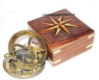 Gilbert Sundial Compass Wooden Box - Pocket Vintage Brass Sundial - Compass photo