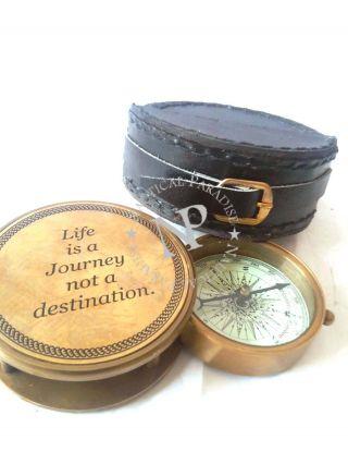 Maritime Pocket Compass Brass Nautical Engrave Compass photo