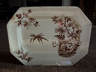 Antique Serving Platter Brown Transfer Kenilworth H Alcock & Co Cobridge England photo