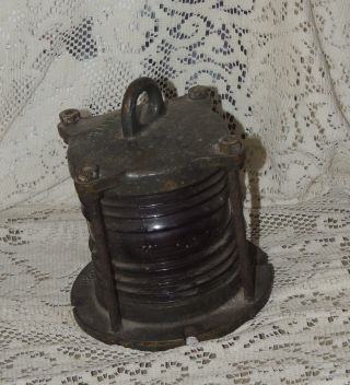 Antique Ships Heavy Brass Metal Navigation Nautical Light - Red Glass.  Look photo
