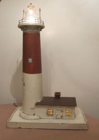 Large Rare Antique Handmade Folk Art Electric Lighthouse Nautical Table Lamp photo