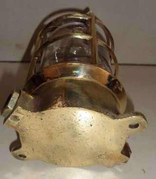 Vintage Marine Brass Passage Light 1 Pc With Brass Cage photo