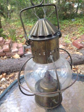 Antique Sherwoods Birmingham Ships Lamp Brass Copper Lantern Glass Globe photo