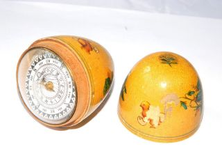 Antique Wooden Egg Compass W/ Solar Clock,  France Ca.  1850 photo