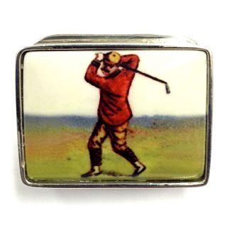 Enamel Vintage Style Golf Snuff Pill Box 925 Sterling Silver photo