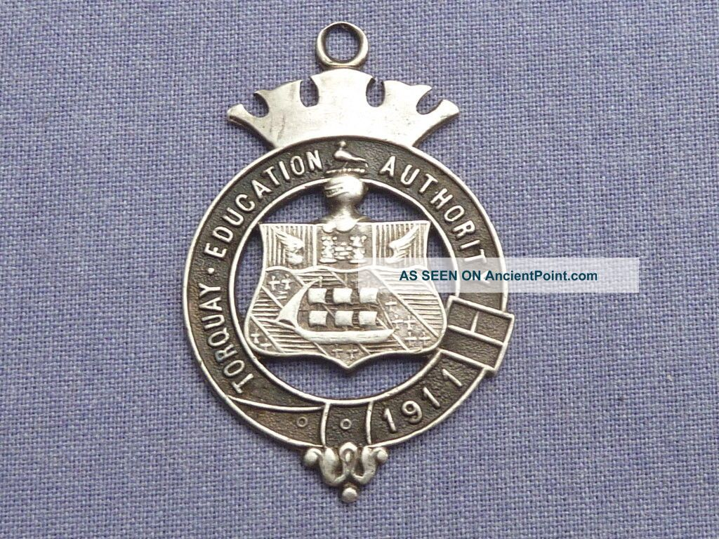Torquay 1911 Education Silver Medal / Watch Fob Pocket Watches/ Chains/ Fobs photo