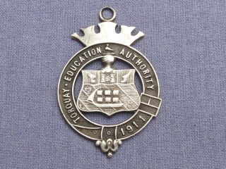 Torquay 1911 Education Silver Medal / Watch Fob photo