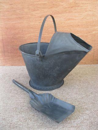Antique Coal Scuttle Hood Bucket Primitive Metal,  Shovel,  Bail Handle photo